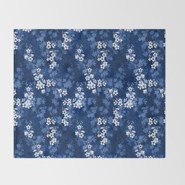 Sakura blossom in deep blue Throw Blanket