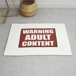 Warning adult content red sign Rug