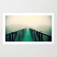 bridge Art Prints featuring suspension bridge by Sookie Endo