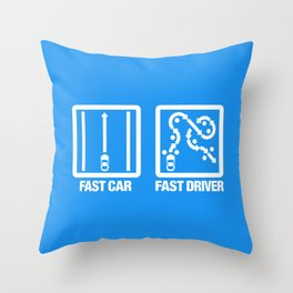 Fast Car - Fast Driver v4 HQvector Throw Pillow