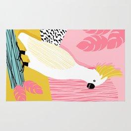 FeelFree - memphis throwback retro bird tropical nature animal parrot cockatoo 1980s 80s pop art Rug