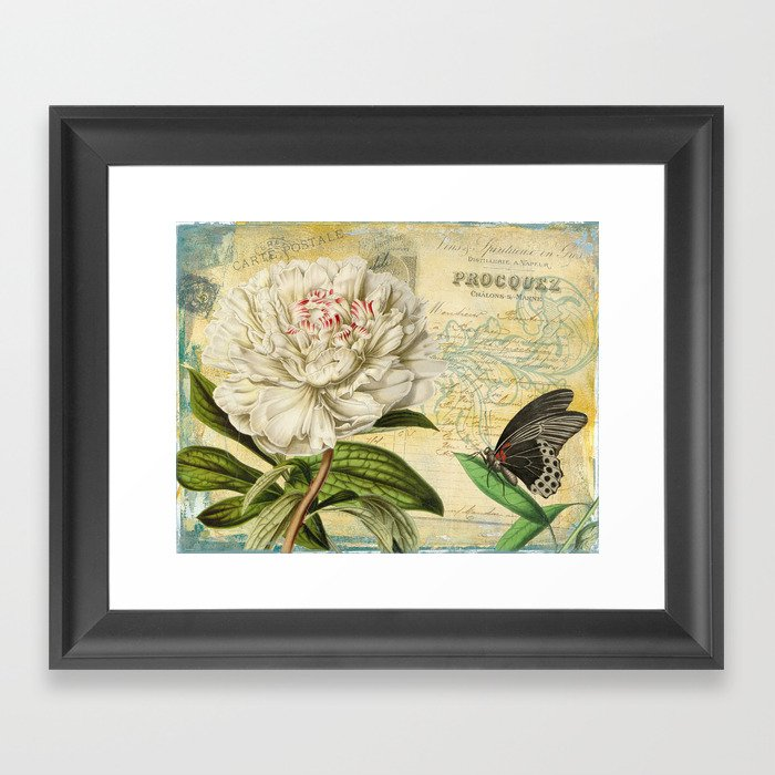 Victorian Peony & Ephemera Art Print - Vintage Rose Collage Wall Art ...