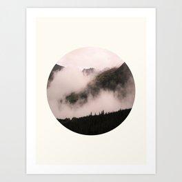 Mid Century Modern Round Circle Photo Misty Foggy Parallax Mountain Hills Art Print