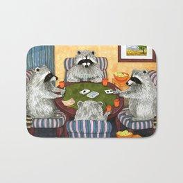 Raccoon 16 playing cards Bath Mat