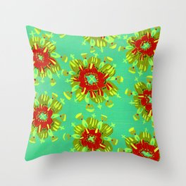 Green Christie Rose Throw Pillow