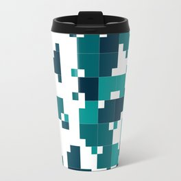 Take me to the bottom of the ocean - Random Pixel Pattern in shades of blue green Travel Mug