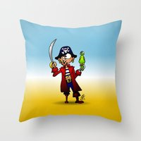 pirate Throw Pillows featuring Pirate by Cardvibes.com - Tekenaartje.nl
