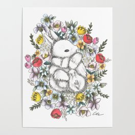 Bunny in the midst of Flowers Poster