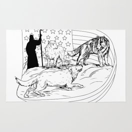 Sheepdog Defend Lamb from Wolf Drawing Rug