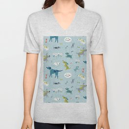 Blue Dog Pattern Unisex V-Neck