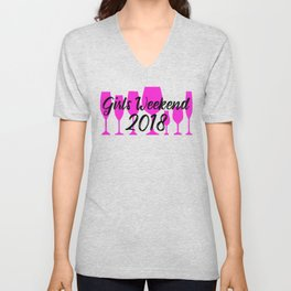girlsweekendwine2018black Unisex V-Neck