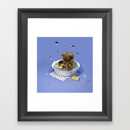 Bath Time Teddy - Blue Framed Art Print