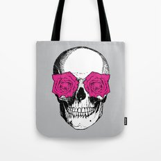 Skull and Roses | Grey and Pink Tote Bag