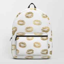 White & Gold Lip Pattern Backpack
