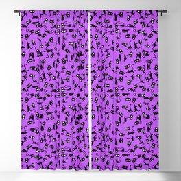 Retro Sassy Tiki Cats (grape version) Blackout Curtain
