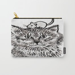 Grey Kitty and a Mouse Carry-All Pouch