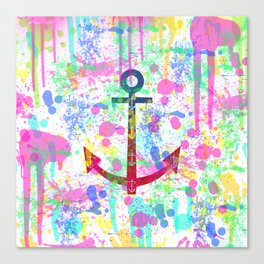 Modern abstract colorful watercolor nautical anchor splatters Canvas Print