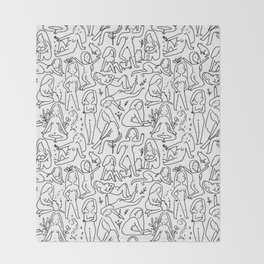 Doodle naked woman Throw Blanket