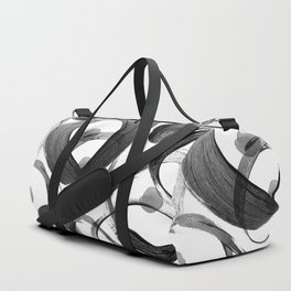 Modern abstract black white hand painted brushstrokes Duffle Bag