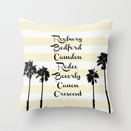 Beverly Hills Street Names Palm Trees Yellow Stripes Throw Pillow