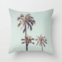 palm trees Throw Pillows featuring palm trees by noirblanc777