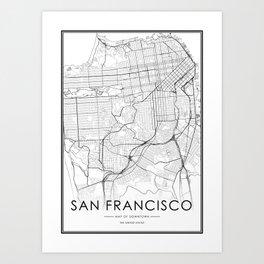 San Francisco City Map United States White and Black Art Print