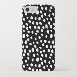 Handdrawn drops and dots on black-Mix & Match with Simplicty of life iPhone Case