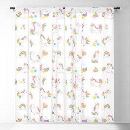 Cute magical rainbow girly pink trendy Unicorn pattern Blackout Curtain