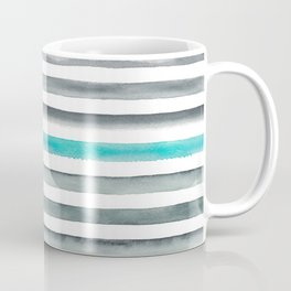 Watercolor Gray & Teal Stripe Pattern Coffee Mug