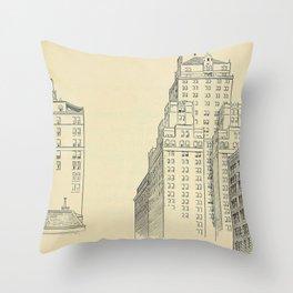 Vintage Skycrapers Throw Pillow