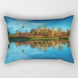 Sky Blue Day at Angkor Wat Buddist Temple, Cambodia by Lor Teng Huy Rectangular Pillow