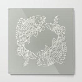 Gray Grey Koi Fishes Metal Print