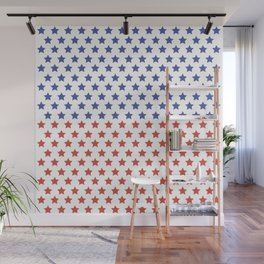 Red and blue stars pattern Wall Mural