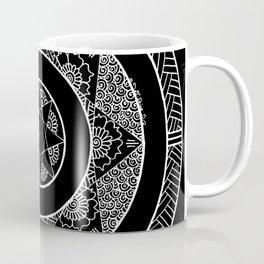 Flower Star Mandala - Black White Coffee Mug