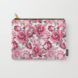 Watercolor blush pink red gray roses floral Carry-All Pouch