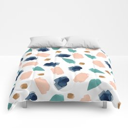 turquoise, navy, pink & gold Comforters