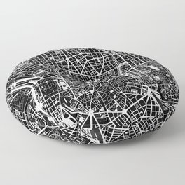 Madrid city map black&white Floor Pillow