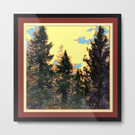 SUNNY DAY PINE TREES FOREST BROWN ART Metal Print