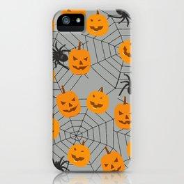 Hallween pumpkins spider pattern iPhone Case