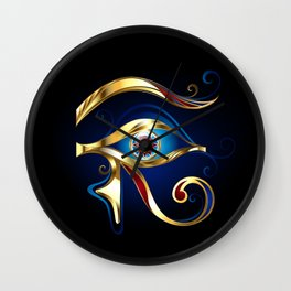Gold Eye of Horus Wall Clock
