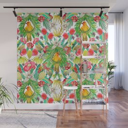 Exotic watercolor floral with tropical fruits and flowers Wall Mural