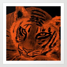 Tiger with Orange Background Art Print