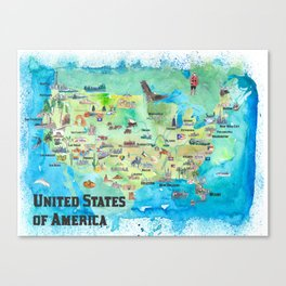 USA Continental States Travel Poster Map With Highlights And Favorites Canvas Print