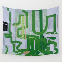 Green Snake In The Bathroom Wall Tapestry