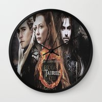 legolas Wall Clocks featuring kili,legolas,tauriel,the hobbit,lord of the rings by ira gora