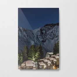 Dreamy Ski Resort at Night Metal Print