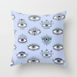 evil eye pattern Throw Pillow