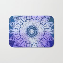 tie dye sunflower mandala in blues Bath Mat
