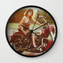 Motorcycle and Pinup Wall Clock