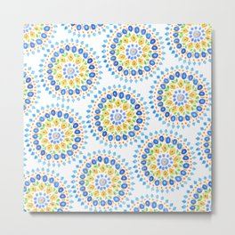 Medallion Pattern in Blues, Green & Orange by Sandy Thomson Metal Print